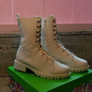 Shoe Republic LA White Lace Up Combat Boots